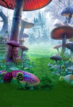 Laeacco Wonderland Castle Mushroom Grassland Scenic Baby Photography Backgrounds Vinyl Seamless Backdrops Props For Photo Studio