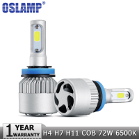 Oslamp H4 H7 H11 COB LED Car Headlight Bulbs 72W Hi Lo Beam Single Beam 8000LM