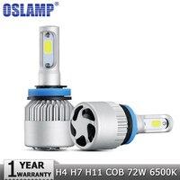 Oslamp H4 H7 H11 COB LED Car Headlight Bulbs 72W Hi Lo Beam Single Beam 8000LM