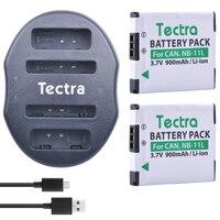 Tectra 2 CÁI NB-11L NB 11L Pin + USB Kép Sạc đối với Canon PowerShot A2300 LÀ A2600 A4000 IS ELPH 110 HS ELPH 150 HSIXUS 155