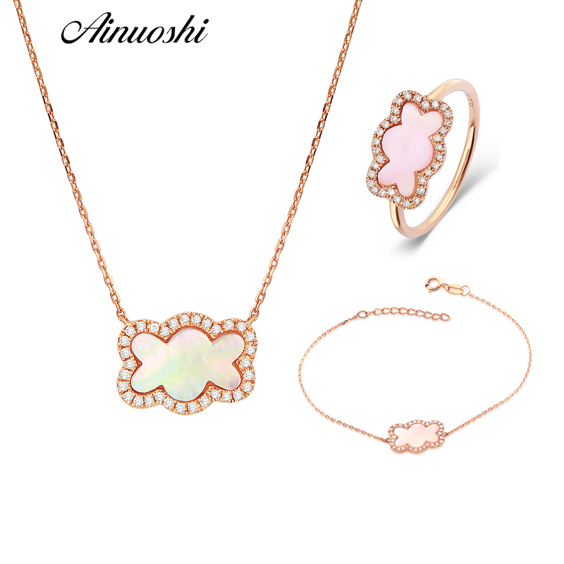 AINUOSHI 18K Rose Gold Lovely Bear Jewelry Set Natural Pink Onyx Ring Real Diamond Pendant Necklace Bracelet Female Jewelry Sets ainuoshi pure 18k white gold female diamond sets natural white onyx round shaped earring pendant necklace bracelet jewelry sets