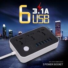 1,8 м Мощность гнездо для шнура удлинителя с 6 USB Мощность полосы 3 розетки адаптер стены Зарядное устройство адаптер док-станция 5V 3.1A для телефона для дома
