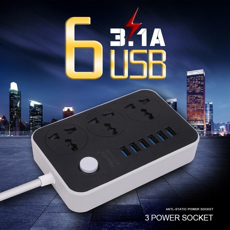 1,8 M Power Verlängerung Kabel Buchse Mit 6 USB Power Streifen 3 Outlets Adapter Wand Ladegerät Adapter Dock 5 V 3.1A Für Telefon Hause
