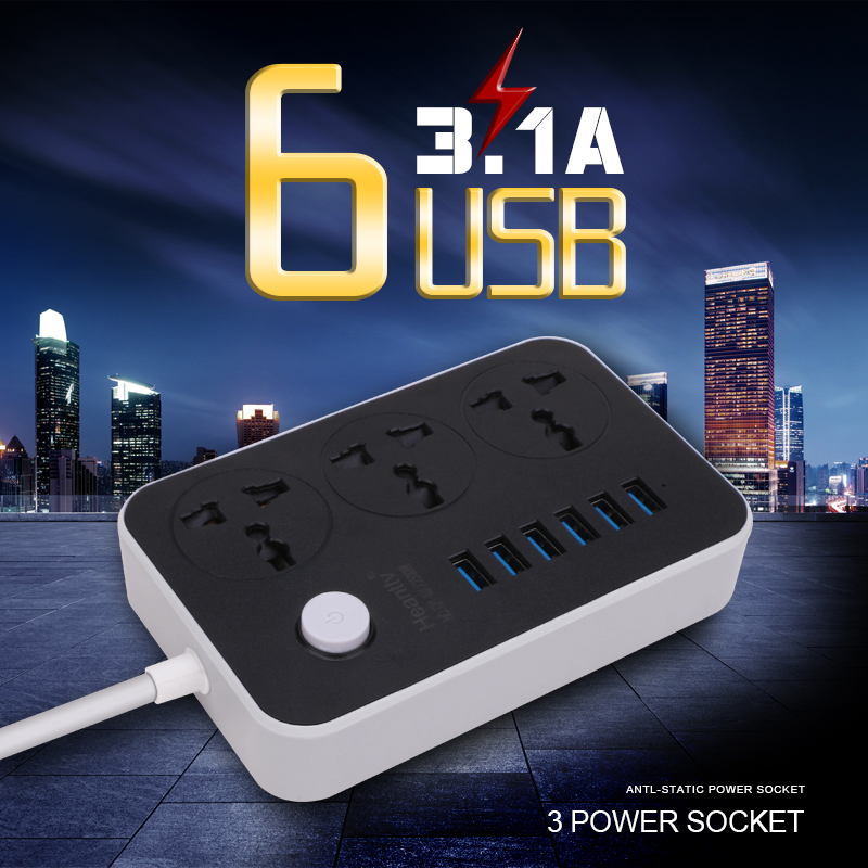 1.8M Power Extension Cord Socket With 6 USB Power Strip 3 Outlets Adapter Wall Charger Adapter Dock 5V 3.1A For Phone Home
