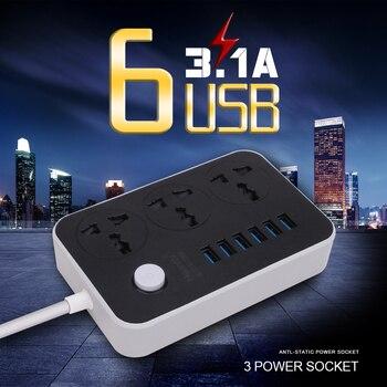 Enchufe del cable de extensión de alimentación de 1.8M Con 6 USB Power Strip Adaptador de 3 salidas Cargador de pared adaptador de muelle 5V 3.1A para teléfono de casa
