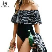 PLAVKY 2017 Sexy White Black Striped Off Shoulder Trikini Swim Bathing Suit Monokini Thong Swimwear Women