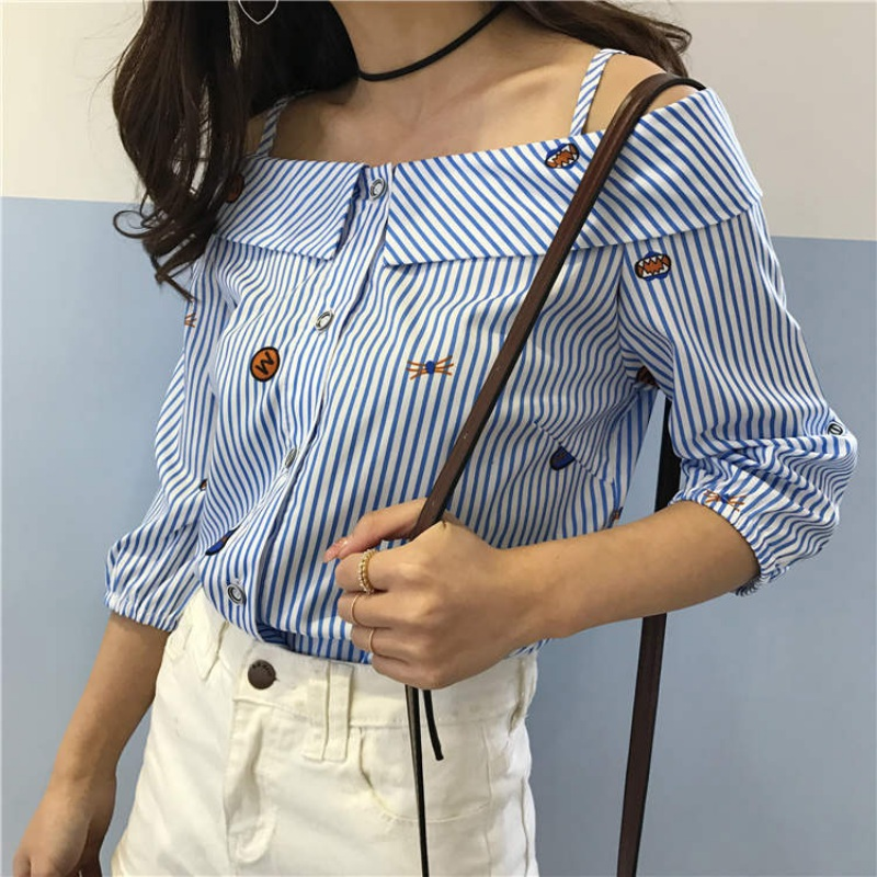Autumn fashion striped   Blouse   Female Long-sleeved   Shirt   Print Embroidered Slash Neck   Blouse     Shirts   Tops