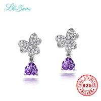 L Zuan 925 Sterling Silver Earrings 0 89ct Natural Amethyst Purple Stone Elegant Butterfly Stud Earrings