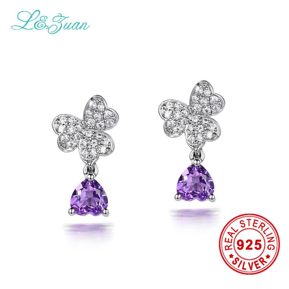 l&zuan 925 Sterling Silver earrings 0.89ct Natural Amethyst Purple Stone Elegant Butterfly Stud Earrings For Women цена