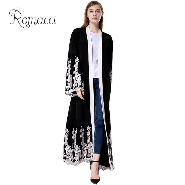 dc1209822f Vintage Women Muslim Long Robe Floral Embroidery Contrast Color Open Front Long  Sleeve waist belt Arabia Maxi Loose Trench Coat