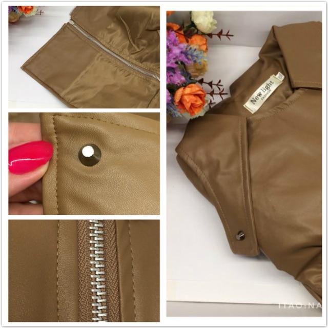 Autumn Women Faux Leather Gothic Black Zippers Long sleeve Jacket 5