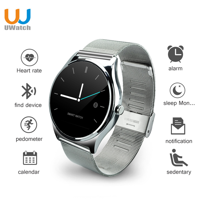 UWATCH New 0 98mm Round Screen Smart Watch Bluetooth Heart Rate Monitor Smartwatch For IOS Android