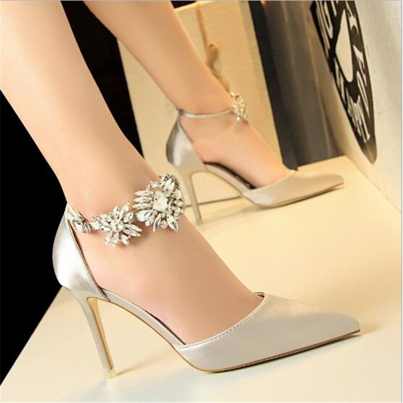 Elegant Rhinestone High Heels Women Pumps Silk Pointed Toe Wedding Shoes Women Buckle Strap Crystal Party Shoes Women