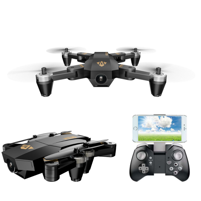 VISUO XS809 Mini WIFI FPV Foldable Drone With 2MP Wide Angle HD Camera Altitude Hold RC Quadcopter with LED Light VS XS809HW foldable rc quadcopter lh x24 wifi fpv 480p 720p wide angle camera 2 4g selfie drone with led light altitude hold vs xs809w x8w