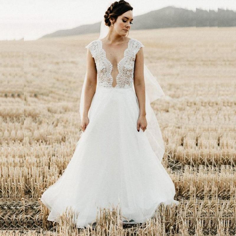 Aliexpress Com Buy Vestido De Noiva 2017 A Line Beach: Aliexpress.com : Buy LORIE A Line Wedding Dress Plus Size