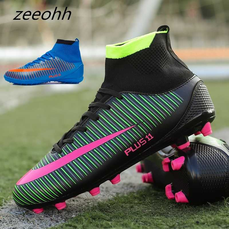 7d797908b zeeohh New Adults Men s Outdoor Soccer Cleats Shoes High Top TF FG Football  Boots Training
