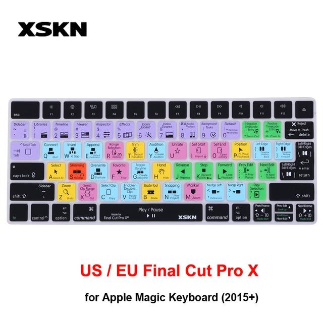 XSKN para Apple Final Cut Pro X teclado piel para teclado mágico (MLA22LL/A), cubierta protectora de teclas calientes de acceso directo funcional EE. UU. EU