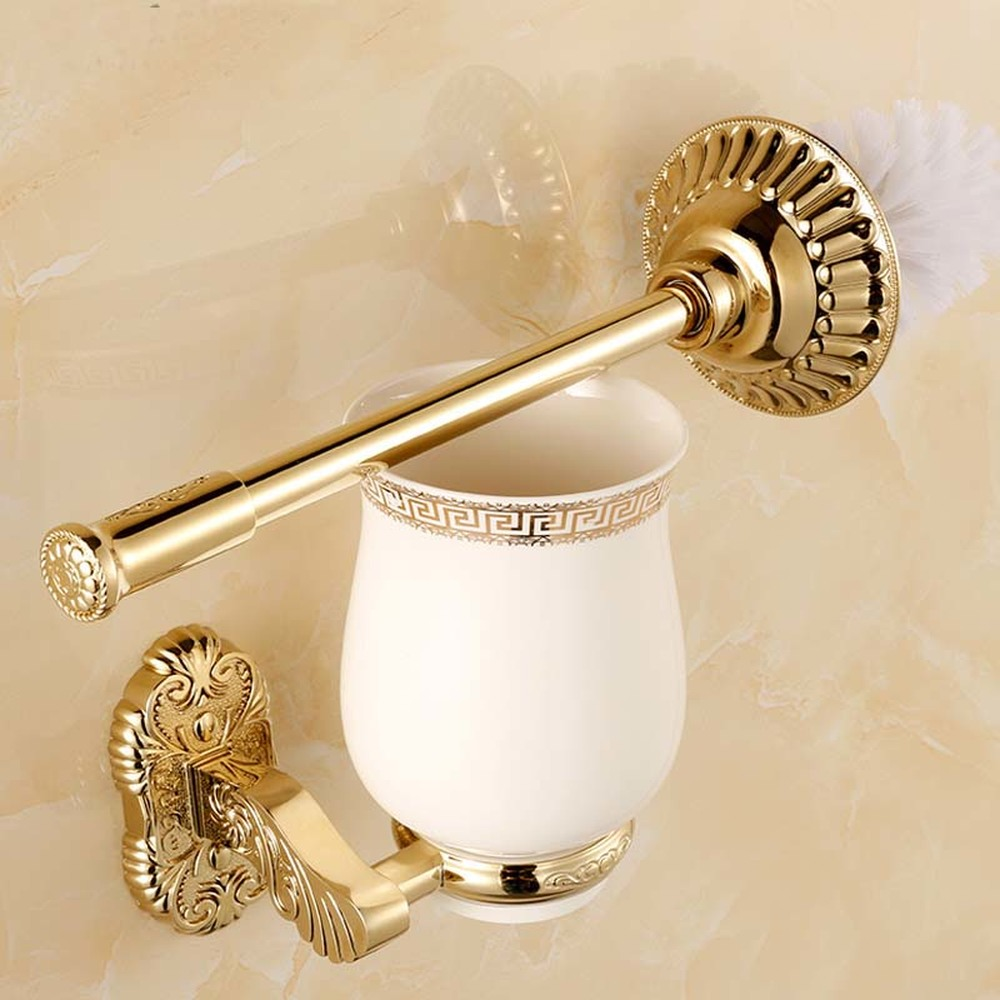 European gold carved bathroom brush ornaments creative toilet brush cup holder wall hanging lo731551 free postage gold plate toilet brush holder with ceramic cup wall mounted flower carved