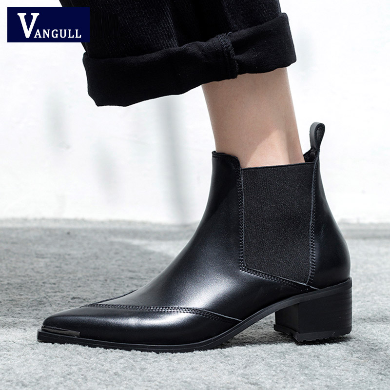 VANGULL Winter Classic Chelsea Boots Women Pointed Toe Black Real Leather High heels Ankle Boots Woman Square heel Fashion shoes 2017 newest stars do old boots woman pointed toe black real leather high heel martin boots women fashion chelsea boots