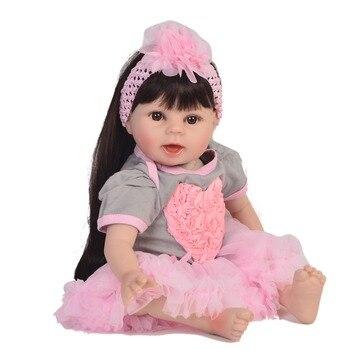 Bebes Reborn Alive Girl Doll Soft Vinyl 22'' 55cm Lifelike Princess Baby Doll Toy For Kids Christmas Birthday Gifts Long Hair