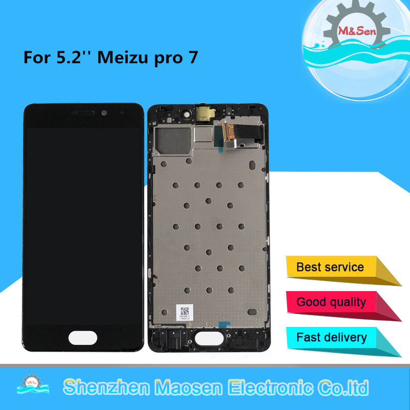 5.2'' Tested M&Sen For Meizu Pro 7 M792H M792Q AMOLED LCD Display Screen With Frame+Touch Panel Digitizer For Meizu Pro7 Frame
