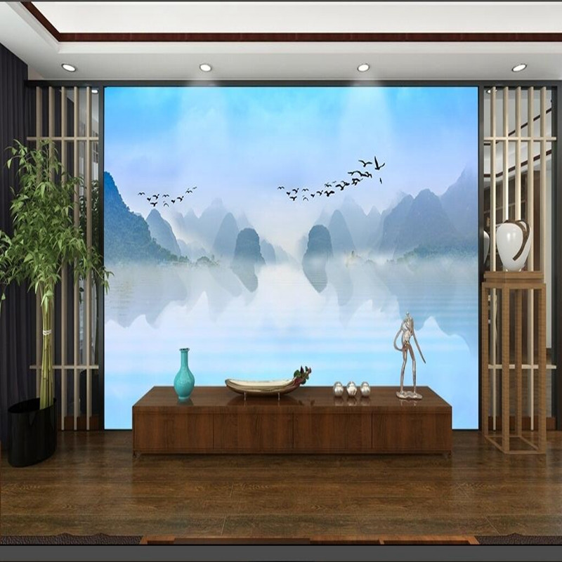 Wall mural wallpaper 3d wall paper chinese ink painting for Chinese mural wallpaper