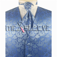 Blue Microfiber Fabric Dress Tuxedo Fashion Waistcoat Cravat Hanky Cufflinks