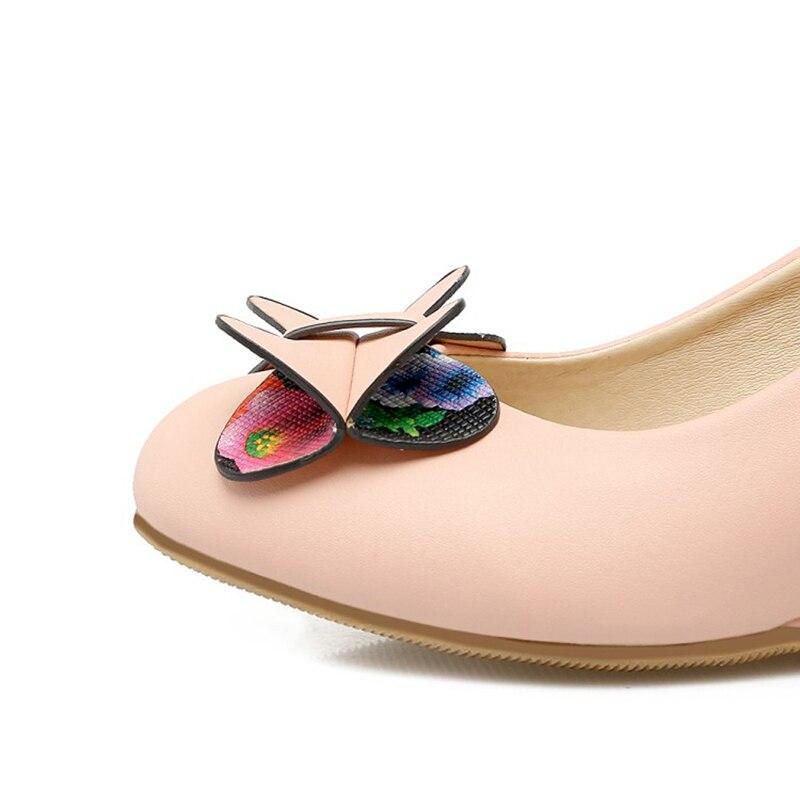 Décontractées Talons Pompes on Pour 42 Noeuds Rond rose Chaussures Taille Grande Femmes Apricot Femme 34 bleu Hauts Bout Papillon Coins Slip Charmes Enmayer ACqzH