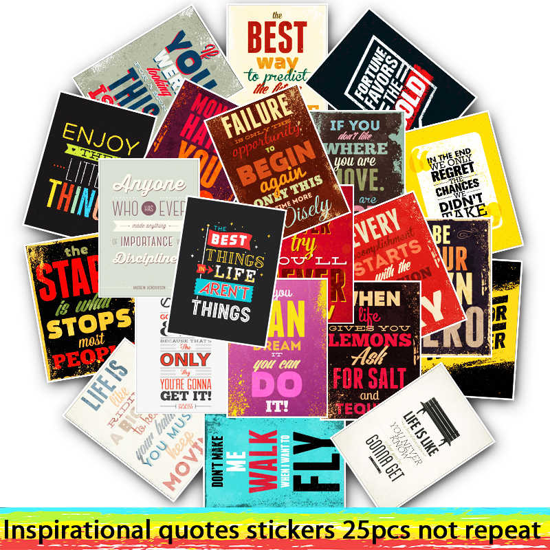 25pcs Mixed Inspirational Quotes Stickers For Car Styling