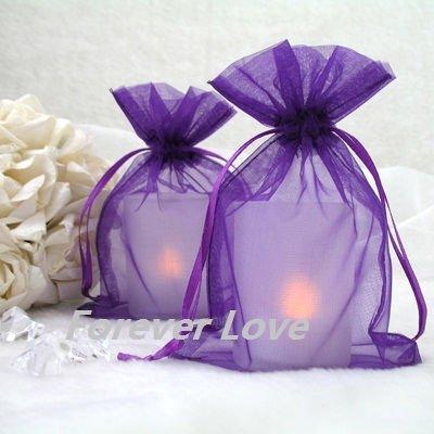 100pcs 10x15cm Purple Sheer Organza Wedding Favour Gift