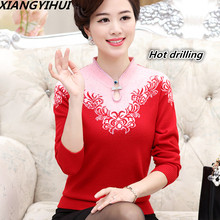 2017 top-quality Cashmere Women sweater female plus size embroidering diamond – studded Christmas sweater Old mother's pullover