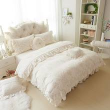 4/6pcs Princess Style Velvet Bedding Sets Cotton Warm Bed Linens Full Queen King Lace Flower duvet cover+Bedskirt+pillowcases(China)