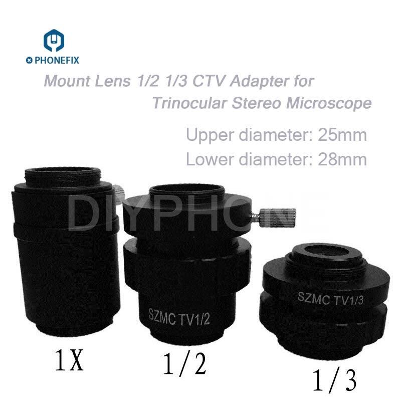 PHONEFIX 0.5X 0.35X 1X lentille c-mount SZMC TV1/2 TV1/3 CTV adaptateur pour accessoires de remplacement de Microscope stéréo trinoculaire