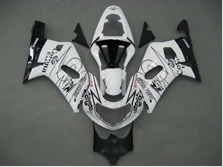 Инъекций белый Corona полный обтекатель для SUZUKI GSXR600 750 01-03 GSX-R600 750 2001-2003 GSXR600 GSXR750 K1 01 02 03 обвес