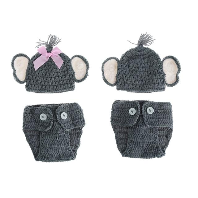 Recién Nacido bebé elefante punto ganchillo sombrero traje foto ...