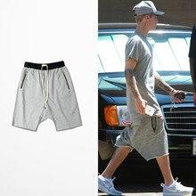 81c59c88c0d1 Men Shorts Unedged Cuff Raw Cutting Hip Hop High Street Shorts Skateboard Dropped  Crotch Knee-