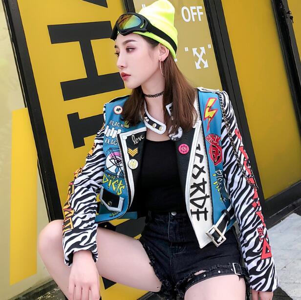 Vefadisa Women Pink Leopard PU Jacket 2019 Autumn Rivet Jacket Letter Printing Short Jacket Women PU   Leather   Jacket S-XL