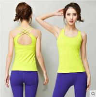 2018 New Sport Yoga Shirt Sleeveless Sportswear Blouses Running Vest Workout Crop Top Female T shirt