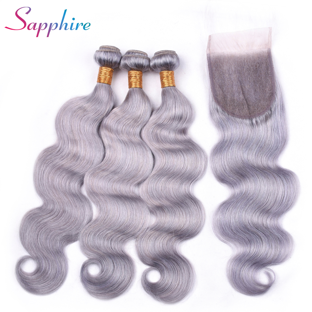 Sapphire Body Wave Peruvian Human Hair Weave Bundles Human Hair Bundles with Free Part Closure 4PC/lot Grey color