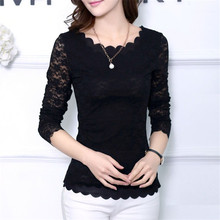 2017 New Fashion Hot Korean Fashion Women's Floral Tops Long Sleeve Shirt Lace Blouse