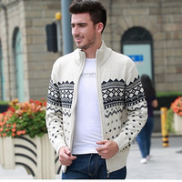 Hot!Men's Knitted Sweaters Cardigans Collar Winter Wool Sweater Fashion Cardigans Male Sweaters Coat Brand Men's Clothing