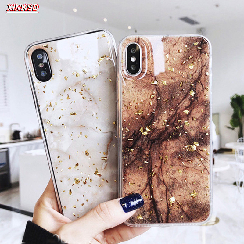Galleria fotografica Luxury Gold Foil Bling Marble Phone Cases For iPhone X 10 Cover Hole Soft TPU Cover For iPhone 7 8 6 6s Plus Glitter Case Coque