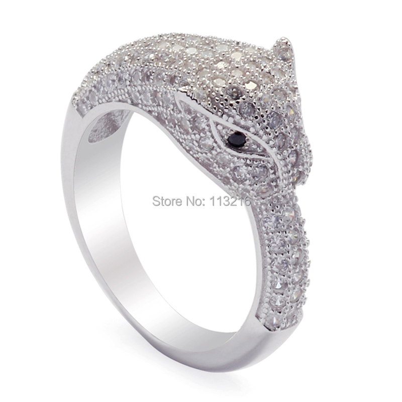 Trendy White And Black Cubic Zirconia Cute Jewelry 925 Sterling Silver Beautiful Ring S 3741 Sz