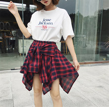 2019 Women's Plaid Skirts Vintage High Waist Pocket Bow Belt sexy Skirt Lace-Up New Boho Summer lady Skirt Asymmetrical Faldas