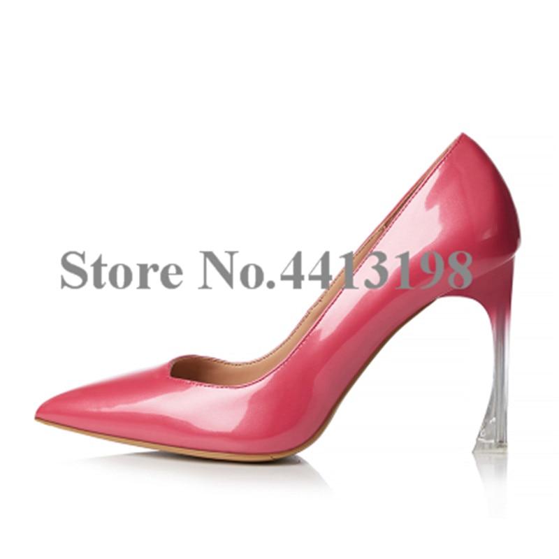 Mariage Gradient Picture Pompes Bout on Picture Transparent De Talons As Minces Date Chaussures Rouge Slip Mode as Femmes Pointu XEqpw