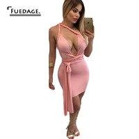 Fuedage 2017 Yeni Moda Değiştirilebilir Kayış Tasarım V Boyun Seksi Elbise Katı Üstü Diz Tek Adım Kısa Elbiseler Kadın Vestidos