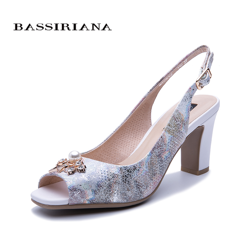 BASSIRIANA new 2019 Genuine leather summer Sandals women shoes High heels for ladies Peep toe fashion