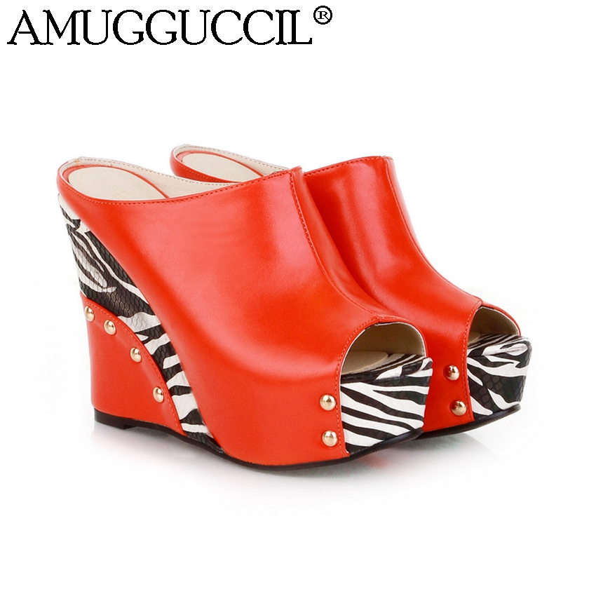 2017 New Plus Big Size 32-43 Red Black White Rivets Fashion Sexy High heel Summer Females Lady Women Wedges Sandal Slippers L715 brand new sale sexy women tassel sandals blue black purple red ladies high heel rivets fringe shoes ay102 plus big size 32 43 10