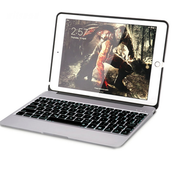 F06 For IPAD ARI 2 Luxuary Stand Case , Backlit Aluminum Bluetooth Wireless Keyboard Clamshell Cover with 2800mah Power Bank