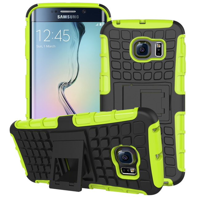 buy online c4ecf a7658 US $3.49 |3D Armor Non Slip Texture Cover For Samsung Galaxy S6 Edge G9250  Dual Layer Anti Shock Protect Kickstand PC+Silicone Rugged Case on ...